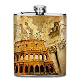 hip flask High Quality Boccette in acciaio inossidabile 7 Oz Roman Empire Concept Famous Columns Sculptress Colosseum Map Of The Nation Print Whiskey Flask Hip Flask Leak Proof Wine Men Women