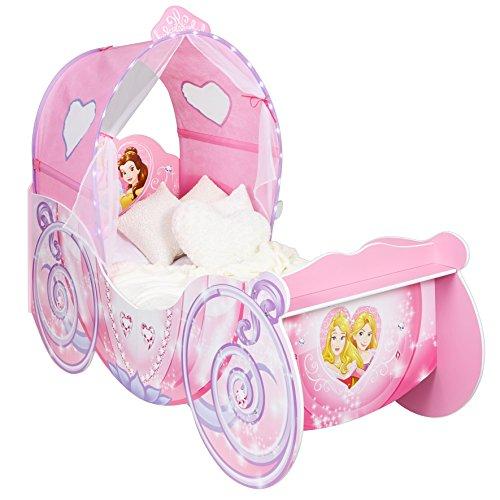 Baldachin Mit Prinzessin Kleinkind Bett (Kleinkinderbett für Mädchen im Kutschendesign von Disney Prinzessin, mit beleuchtetem Baldachin)