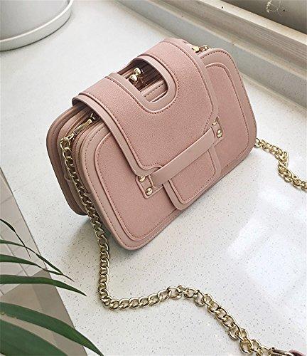 RENMEN Frau Frauen Tasche Diagonal Schulter Portable Trend DREI-Schicht-quadratische Tasche Fashion Scrub weibliche Tasche einfach, Pink -