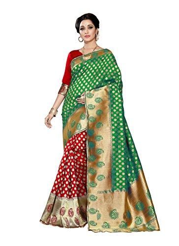 Vatsla Enterprise Women's Banarasi Cotton Silk Saree With Blouse Piece (Green)