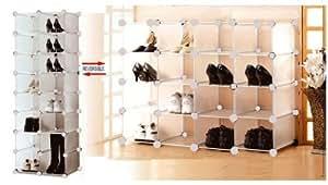 BlueBoxInnovations Interlocking Shoe Organiser Modular Shoe Rack Shoe Shelf for 16 Pairs