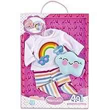 Nenuco - Pack de pijama y camiseta con decoración de arco iris y pantalones a rayas (Famosa 700013507)