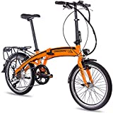 CHRISSON 20 Zoll E-Bike City Klapprad EF1 orange - E-Faltrad mit Bafang Nabenmotor 250W, 36V und 30 Nm, Pedelec Faltrad für Damen und Herren, praktisches Elektro Klappfahrrad, perfekt für die Stadt