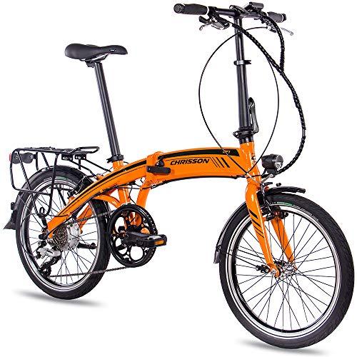 CHRISSON 20 Zoll E-Bike City Klapprad EF1 orange - E-Faltrad mit Bafang Nabenmotor 250W, 36V und 30 Nm, Pedelec Faltrad für Damen und Herren, praktisches Elektro Klappfahrrad, perfekt für die Stadt