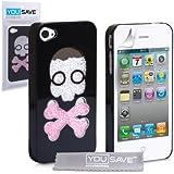 Yousave Accessories diseño de calavera con purpurina carcasa rígida para iPhone 4/4S - negro