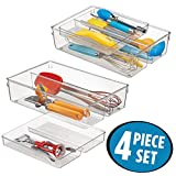 mDesign Schubladen Organizer – zweiteilige Aufbewahrungsbox für die Küchenschublade – verschiebbarer Besteckeinsatz mit vier Fächern für Küchenutensilien – durchsichtig
