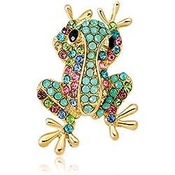 Yarmy Broches para Ropa Mujer Broche de Diamantes de imitación la Manera Personalidad Rana Broche Vestido de Cientos otoño e Invierno