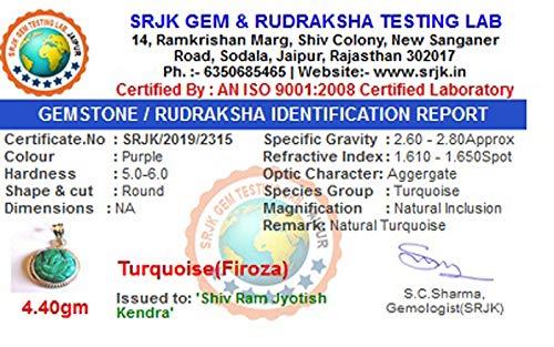 Shiv Ram Jyotish kendra Silver firoza Ganesh Pendant for Unisex