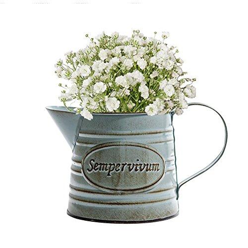 Brownrolly vintage metal brocca vaso con manico, shabby barile annaffiatoio vasi vasi per fiori, composizioni floreali per matrimonio casa bar decorazione a