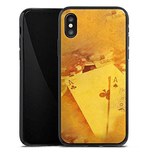 Apple iPhone X Silikon Hülle Case Schutzhülle Karten Poker Casino Silikon Case schwarz