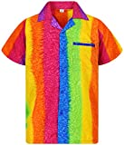 V.H.O Funky Chemise Hawaienne, Rainbow Vertical, Multicolore, XL