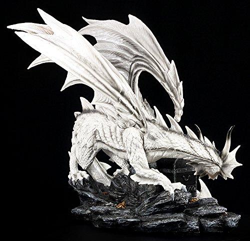 Große weiße Drachen Figur bewacht Schatztruhe - 3