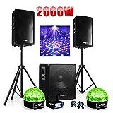 PACK SONO DJ 2000W CUBE 1512 avec CAISSON + ENCENTES + PIEDS + CABLES + Strobe + 2 Sixmagic