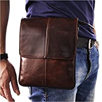 Le'aokuu Mens Genuine Leather Small Messenger Shoulder Bag Fanny Waist Belt Pack Pouch (The 8713 Coffee)