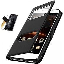 CEKA® apple Iphone 7 Hülle Case, Tasche Schutzhülle Case mit Window für apple Iphone 7 Leder-Kasten-Abdeckung und Standplatz für apple Iphone 7 - Schwarz + Panzerglasfolie apple Iphone 7