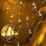 Guirlande Lumineuse LED Guirlande Lumineuse Géométrique -1.5M 10 LED fonctionnement à pile pour Noël Halloween Mariage Soirée Jardin (Blanc Chaud, Batterie non incluse)