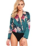 Mango Tree Reizvolle Damen V-Ausschnitt Floral Bedruckte Tuxedo Wrap Over Satin Bodysuit Overall Hemd Siamesische Hosen Playsuit Beachwear Romper (Grün, 3XL)