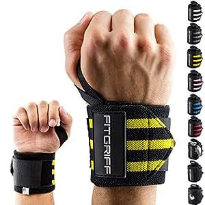 FITGRIFF - Polsiere fitness (set da 2) - Wirst Wraps per sport con pesi, fitness, bodybuilding, crossfit - 45cm - unisex - 2 anni di garanzia - Grigio camouflage