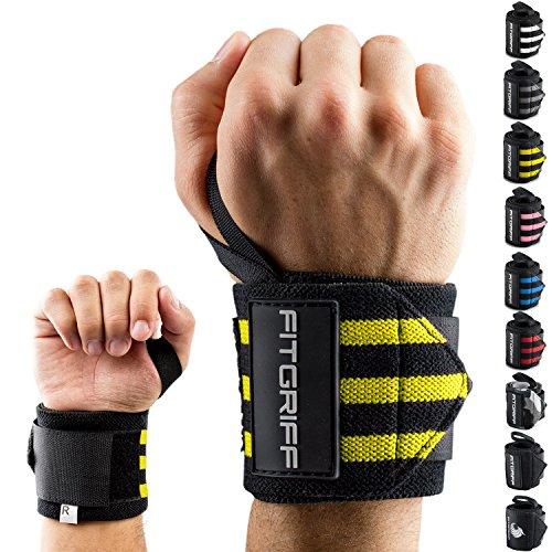 Fitgriff® Handgelenk Bandagen [Wrist Wraps] 45cm Handgelenkbandage für Fitness, Bodybuilding, Kraftsport & Crossfit - für Frauen und Männer -