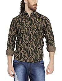 Tribewear Men's Stylish Cotton Army Print Shirt