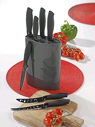 Esmeyer Alpha Messerset 7 teilig, Klingen aus hochwertigem Klingenstahl, Block Kunststoff mit Bürsteneinsatz, schwarz grau, 1, 2