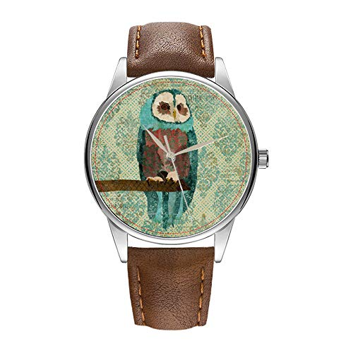 Herrenuhr braune Cortex Quarz Uhr für Männer berühmte Luxus Armbanduhr Quarzuhr für Business-Geschenk Azure Owl Damast Watch (Männer Hat Owl)