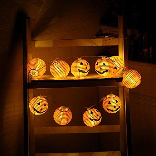 Kürbis Lampion Lichterkette mit 10/20 LED Kürbis Lichterkette für Drinnen und draußen Halloween Karneval Deko Lichterkette Batterie (Für Halloween-spiele Drinnen)