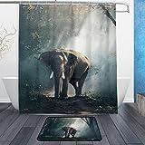 JSTEL Elefanten-Design, 3-teiliges Badezimmer-Set maschinenwaschbar, für den täglichen Gebrauch, 60x 40cm, wasserdicht, mit 12Haken, Anti-Rutsch, 3-teiliges Set