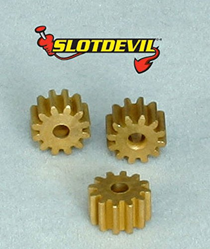Slotdevil Messing Motorritzel 12 Zähne M50 für 2 mm Motorwelle (3 Stück) (Stück Sidewinder 3)