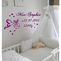 WANDTATTOO Wandaufkleber Baby Geburt Storch personalisiert Wunschnamen