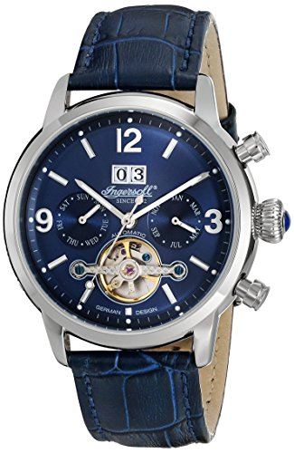 Ingersoll Unisex Automatic Watch with Blue Dial Chronograph Display and Blue Leather Strap IN1826BL