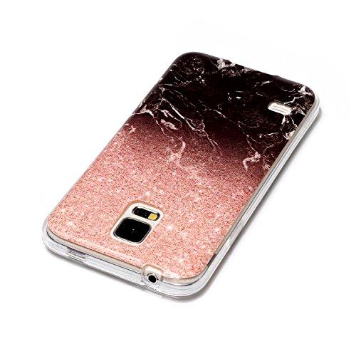 Cozy Hut Für Samsung Galaxy S5 Handyhülle mit Marmor / Marble Design(Schwarz / Rosengold)   Handytasche     Schale     Hülle     Case   Handy-etui   TPU-Bumper   Soft Case   Schutzhülle Cover für den optimalen Schutz ihres Samsung Galaxy S5 (5,1 Zoll) - Schwarzer Rosmarin Marmor