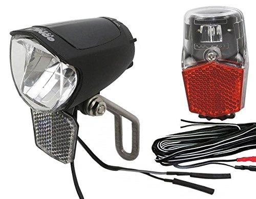 Black Dingo Cycling Products BDCP Lampenset 75 SL Steady Büchel FL-12 Rücklicht mit Standlicht & Kabel für Nabendynamo StVZO zugelassen