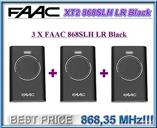 3 X FAAC XT2 868 SLH LR Noir. Porte télécommande émetteur de télécommande, 868Mhz rolling code keyfob !!!