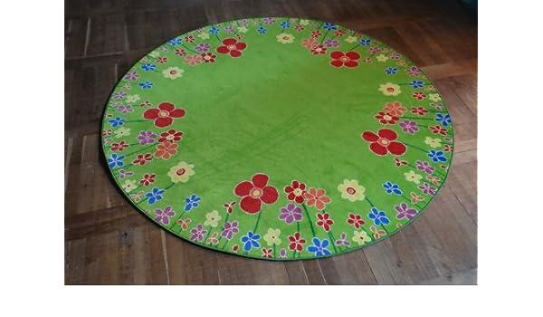 Kinderteppich blumenwiese  Kinderteppich Blumenwiese grün Velours ca. 200 cm rund 2. Wahl ...