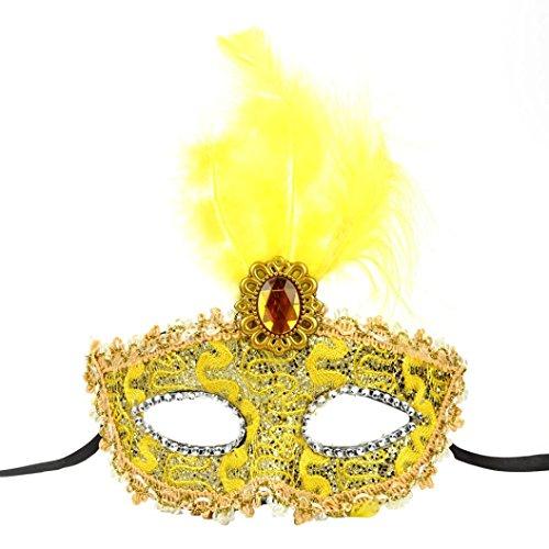 Halloween Maske AMUSTER.DAN LED Halloween Maskerade Dame Paint Lace Maske (E)