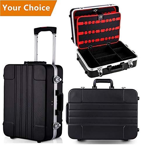 Meditool valigia degli attrezzi con ruote, 33 x 19 x 46 cm, cassetta degli attrezzi vuota con manico telescopico, leva estraibile, nero
