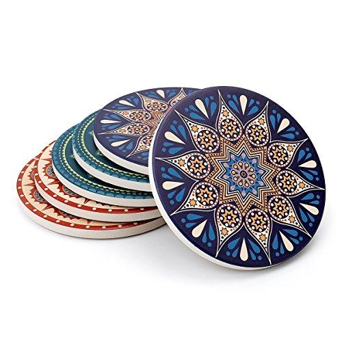 Sweese Untersetzer Keramik - Absorbierenden Untersetzer, Bestehend aus Hochtemperatur Verstärktem Porzellan und Kork, Untersetzer Set für Glas, Tassen und so Weiter, Satz von 6