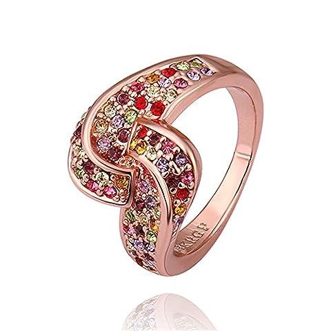 nykkola Bague de Mariage Diamant en cristal coloré New Fashion Jewelry Classic 18K plaqué or rose