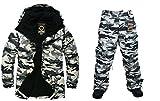 Southplay Chaqueta y pantalón de esquí-snowboard de diseño militar impermeable para hombre (Large)