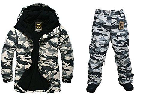Southplay Chaqueta y pantalón de esquí-snowboard de diseño militar impermeable para hombre (X-Large)