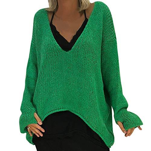 iHENGH Damen Herbst Winter Bequem Lässig Mode Frauen Warm V Ausschnitt Pullover Einfarbig Langarm Pullover Beiläufiger Strickpullover(S,Grün)