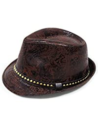 LOCOMO Paisley PU Leather Fedora Short Upturn Brim Hat Cap Cuban FFH247BRN