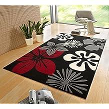 Alfombra para salón, 160 x 230 cm, diseño moderno con flores, color beige/negro