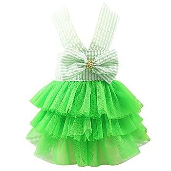 Chiens Textiles et Accessoires,Bulle Jupe Robe en Dentelle à Rayures Robe De Chien Robes De Princesse pour Chien,Chiens Pull-Overs (M, Vert)