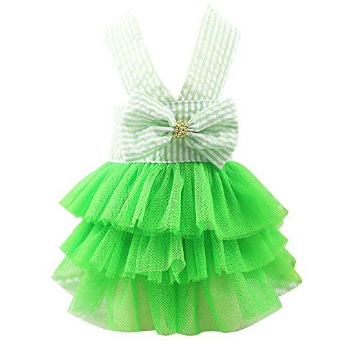 Haustier Kleid,Blase Rock Streifen Spitzenkleid, Prinzessin Kleider für Hund Welpen,Haustier Hund Gestreiftes Rockkleid mit Bowknot (Grün, XL)