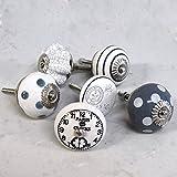 6 Stück, grau/weiß, Keramik, vintage-Stil, shabby chic, gepunktet, gestreift, Uhren, Türknauf für Schrank cabinet