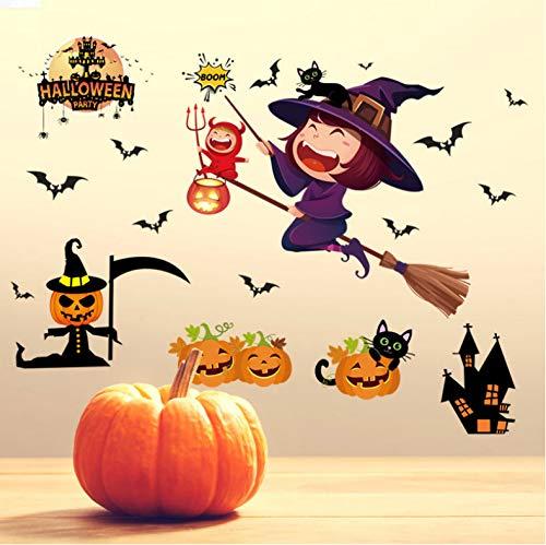 wlflyh Kürbis Licht Halloween Wandaufkleber Mall Dekoration Spukhaus Bar Fenster Wandaufkleber Tapete Für Hauptdekoration
