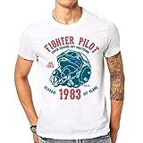 Elbster T-shirt imprimé pilote force aérienne avec un ornement rétro cool pour les hommes blanc M