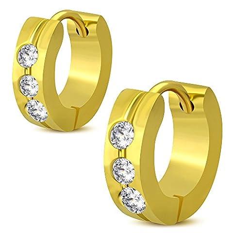 Bungsa® Gold Creole Earrings with Cubic Zirconia Crystal Stones 4MM Hinged Hoop Earrings–1Pair Of Stainless Steel Earrings Huggie Earrings Ear Women Men Fashion Women)